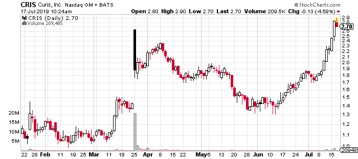 top biotech penny stocks Curis CRIS