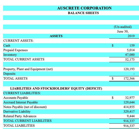 ASCK penny stock Financials