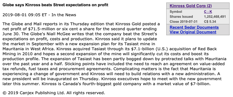 penny stocks to watch Kinross Gold beat