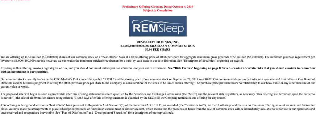 penny stocks REMSleep Holdings RMSL