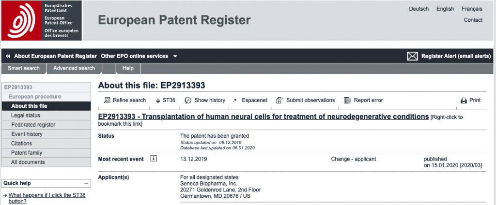 SNCA patent granted https://register.epo.org/application?number=EP15156823