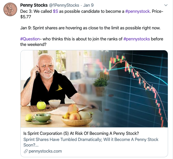 penny stocks to sell Sprint (S)