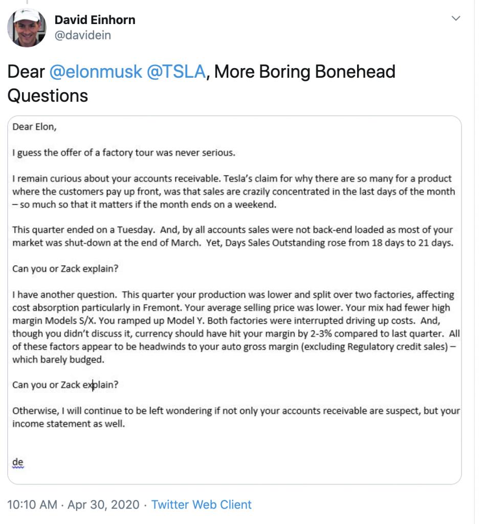 David Einhorn Tesla Tweet