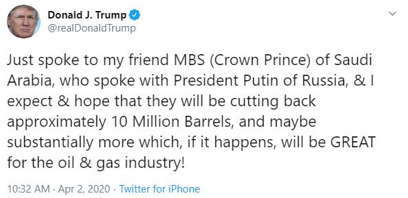 Donald Trump oil tweet April 2020