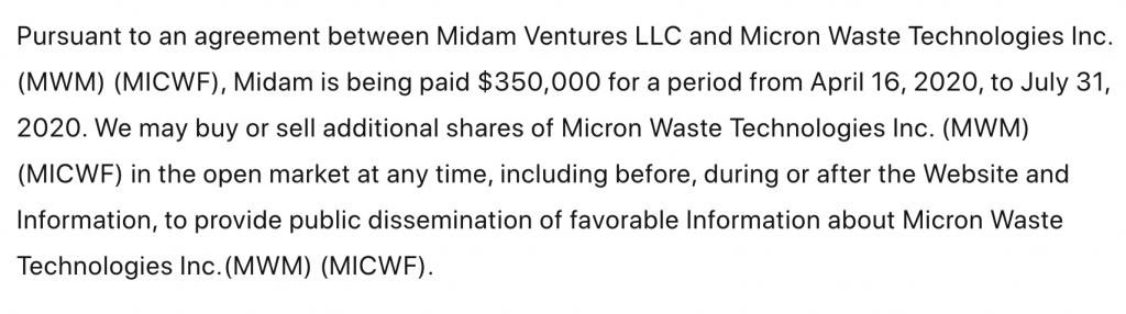 Micron Waste MWM MICWF Disclaimer