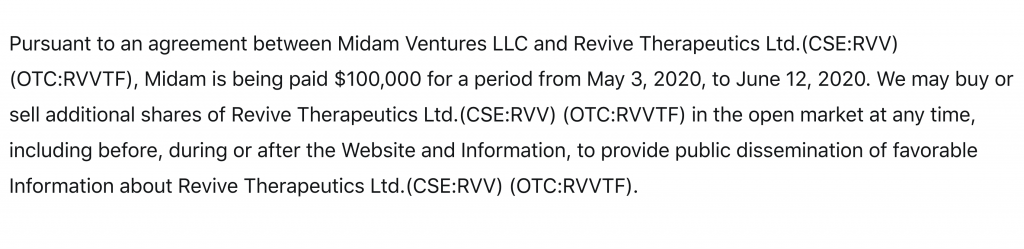 penny stocks Revive Therapeutics RVV Disclaimer