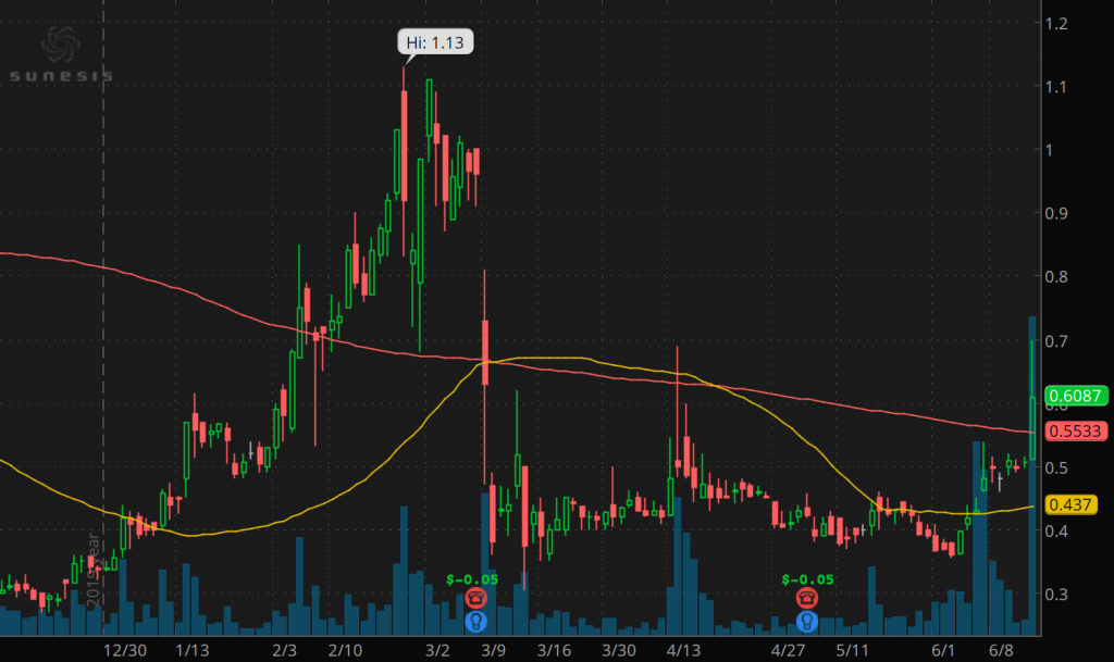 penny stocks to buy under 2 dollars Sunesis Pharmaceuticals Inc. (SNSS stock chart)