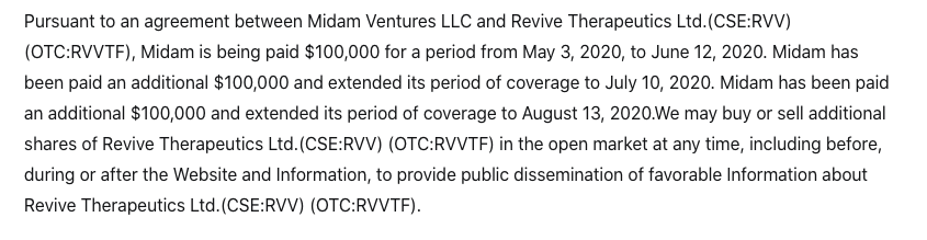 Revive Therapeutics Disclaimer August 2020
