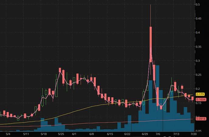 coronavirus penny stocks to watch Revive Therapeutics (RVVTF stock chart)