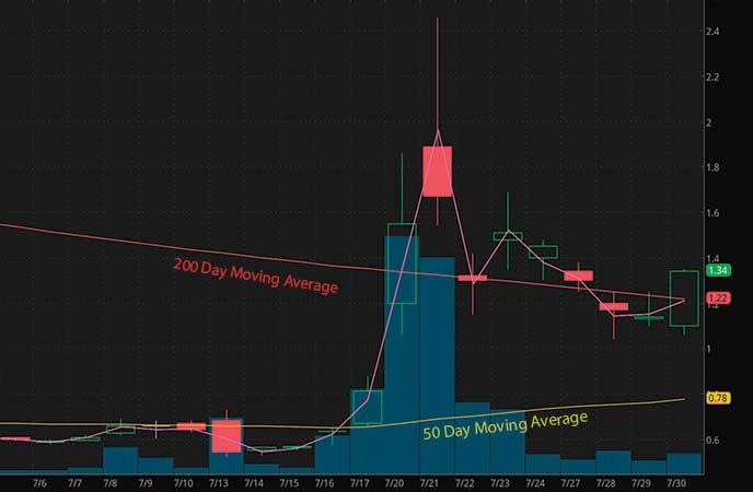 coronavirus penny stocks to watch Tonix Pharmaceuticals (TNXP stock chart)