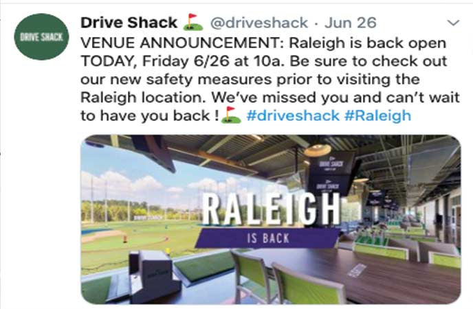 drive shack tweet July