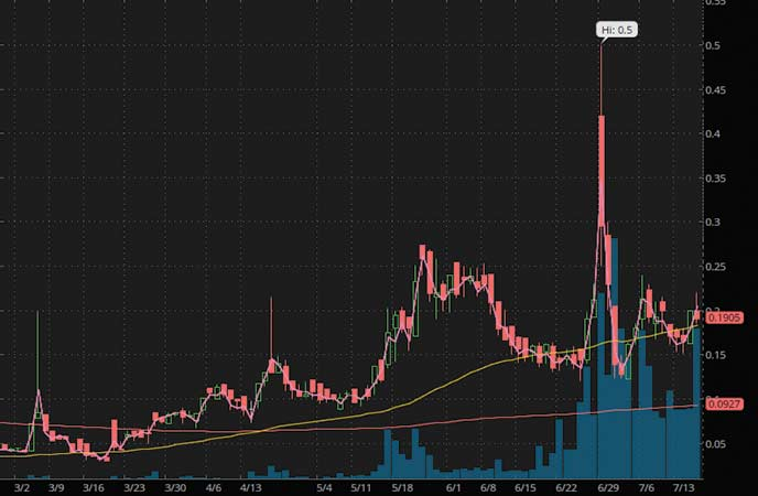 penny stocks to watch Revive Therapeutics (RVVTF stock chart)