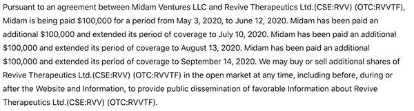 Revive Therapeutics RVV RVVTF Disclaimer Aug 14