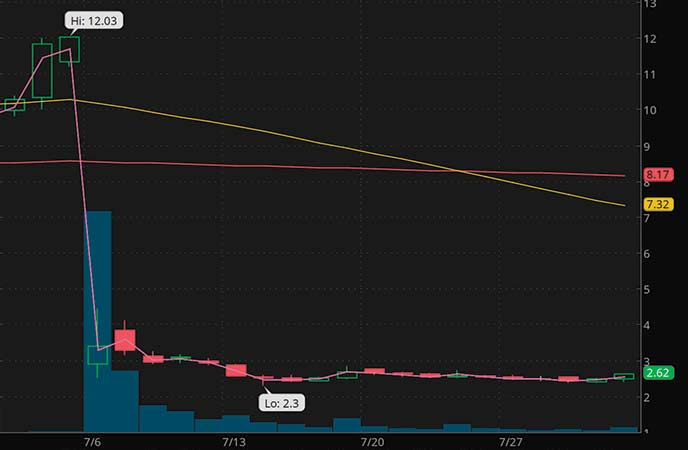 penny stocks on robinhood BELLUS Health Inc. (BLU stock chart)