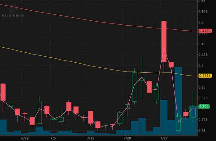 penny stocks on robinhood Sunesis Pharmaceuticals (SNSS stock chart)
