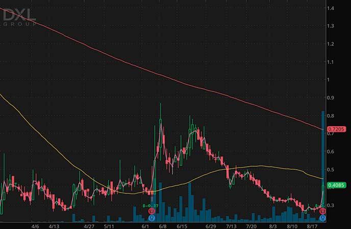penny stocks to buy under 3 dollarsDestination XL Group Inc. (DXLG stock chart)