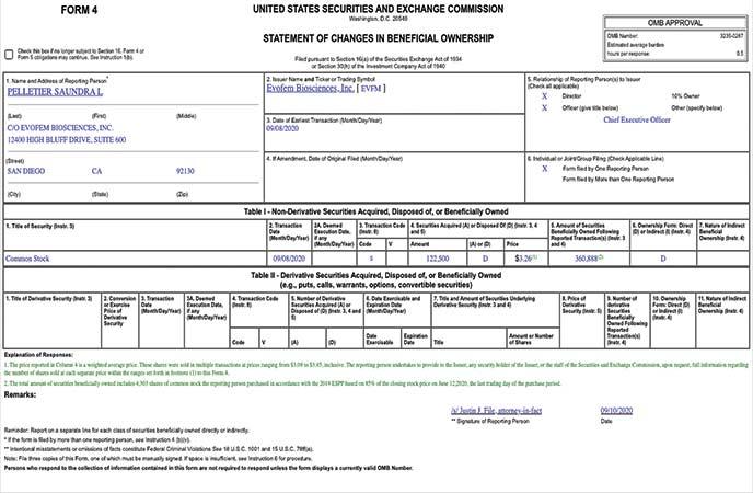 EVFM stock Form 4