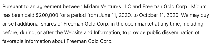 freeman gold corp disclaimer FMAN