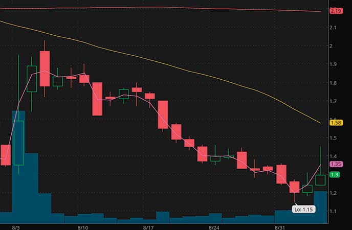 penny stocks to buy avoid Oncocyte Corp. (ONCS stock chart)