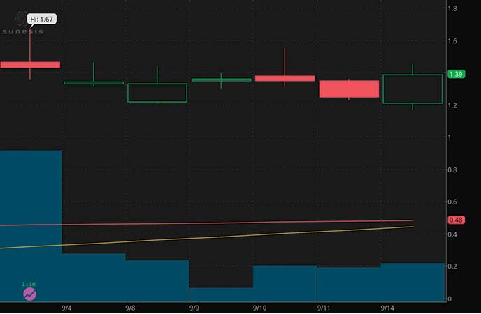 robinhood penny stocks Sunesis Pharmaceuticals Inc. (SNSS stock chart)