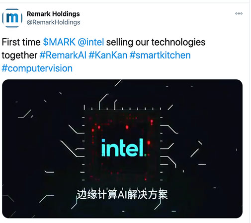 Remark Holdings Tweet Intel