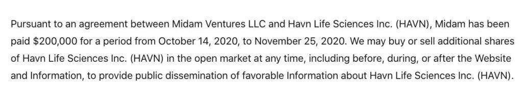 HAVN disclaimer November