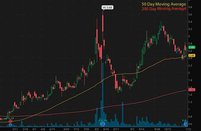 top penny stocks to watch now Trevena Inc. (TRVN stock chart)