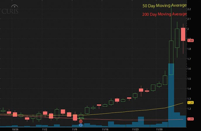 biotech penny stocks to watch Curis Inc. (CRIS stock chart)