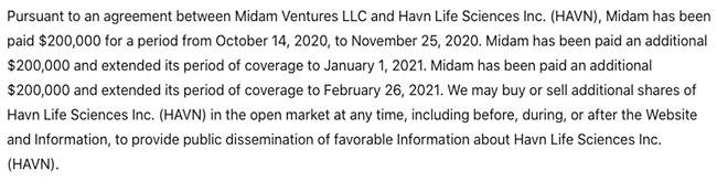 HAVN HAVLF disclaimer feb