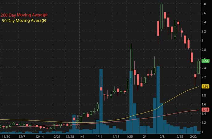 penny stocks to buy under 3 T2 Biosystes Inc. TTOO stock chart