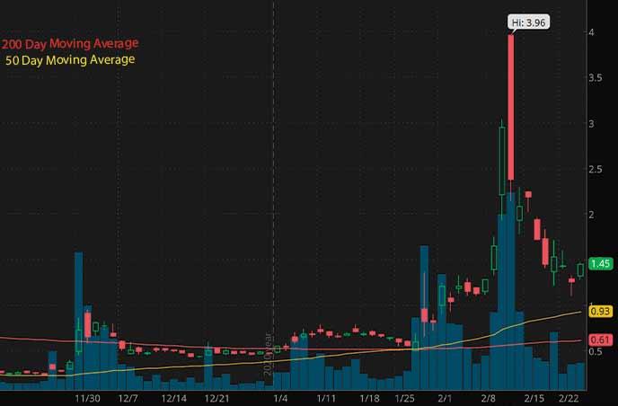 reddit penny stocks Sundial Growers SNDL stock chart