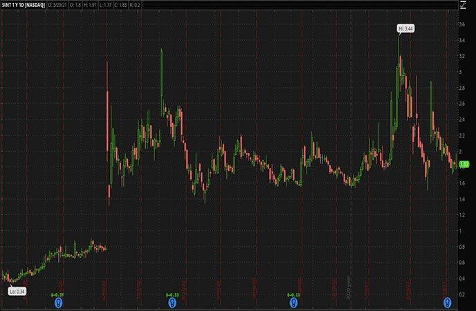 Biotech Penny Stocks to Watch SINTX Technologies Inc SINT Stock Chart