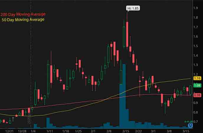 best penny stocks to buy now Diffusion Pharmaceuticals Inc. DFFN stock chart