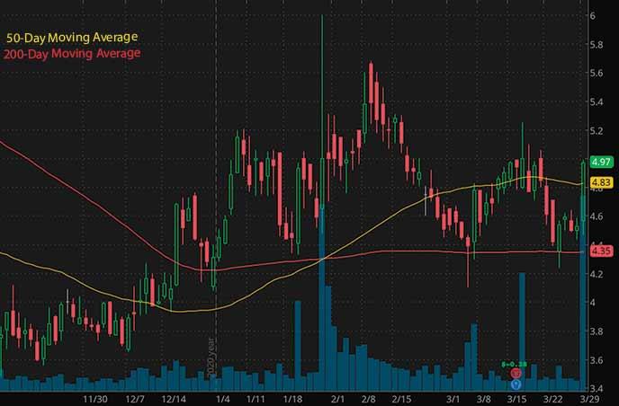 penny stocks to buy now Kindred Biosciences KIN stock chart