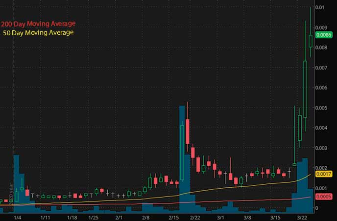 penny stocks under 0.01 Trans Global Group Inc. TGGI stock chart