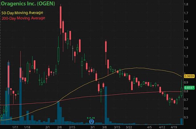Reddit penny stocks to buy on Robinhood Oragenics Inc. OGEN stock chart