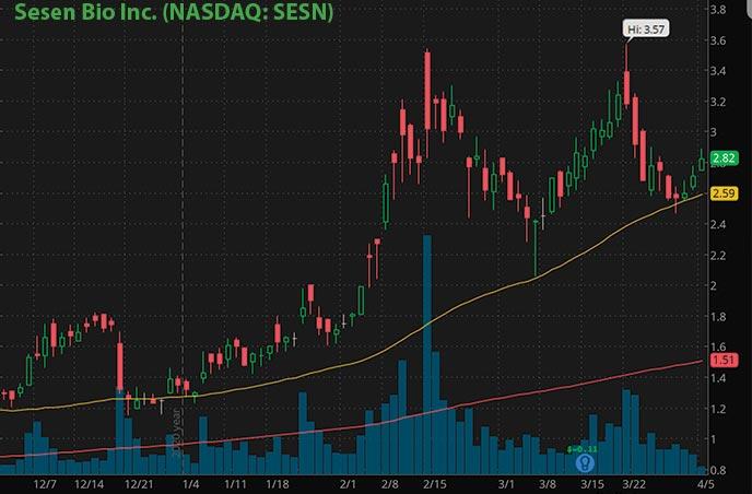 hot penny stocks to buy right now Sesen Bio Inc. SESN stock chart