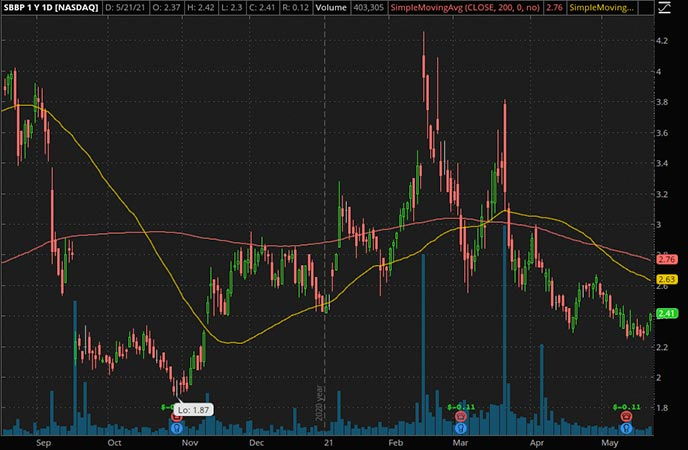 Penny_Stocks_to_Watch_Strongbridge Biopharma Plc. (SBBP Stock Chart)