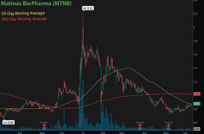 best penny stocks to buy avoid Matina BioPharma MTNB stock chart
