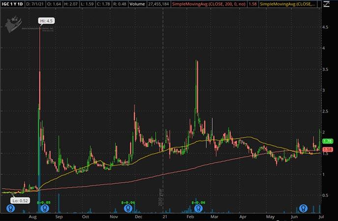 Penny_Stocks_to_Watch_India Globalization Capital Inc. (IGC Stock Chart)