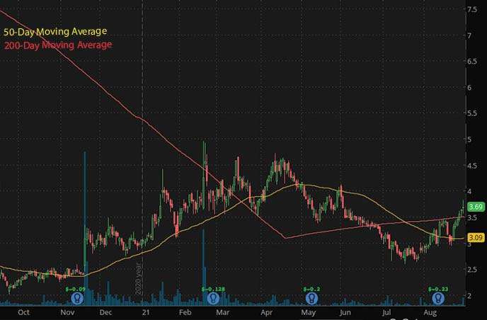 penny stocks to watch september BELLUS Health BLU stock chart