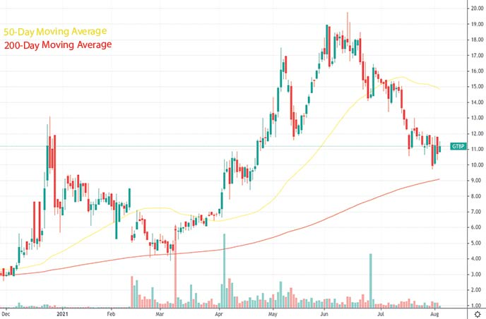 top reddit stocks to watch hood stock GT Biopharma GTBP stock chart