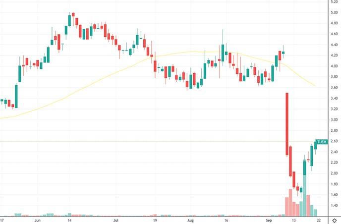 cheap penny stocks to buy Tuesday Morning TUEM stock chart