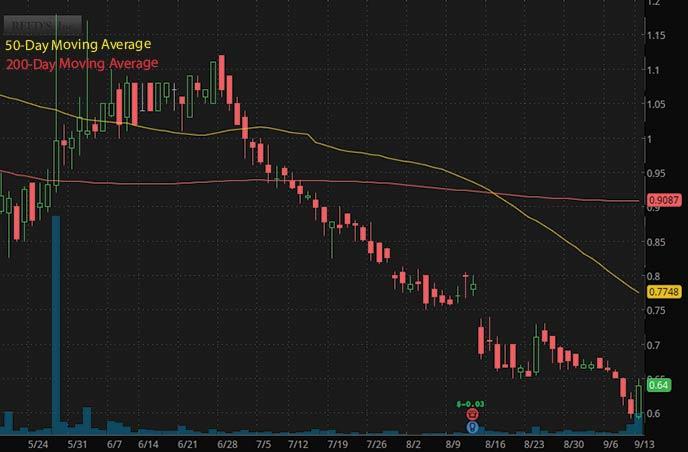 robinhood penny stocks to buy under $1 Reeds Inc. REED stock chart