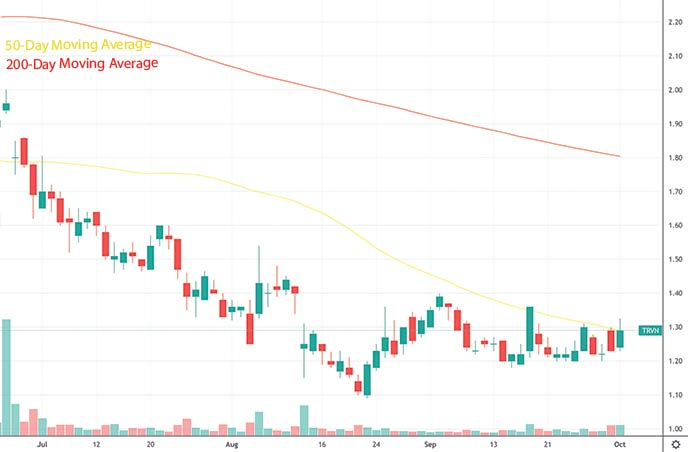 best penny stocks to watch this week Trevena Inc TRVN stock chart